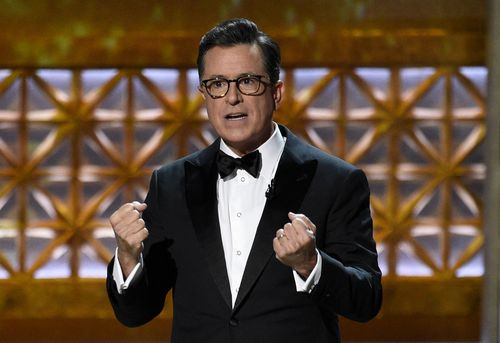 Stephen Colbert joined calls for changes to gun laws. (AAP)