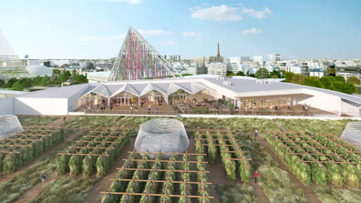 Rendering of the world's largest rooftop urban farm in Paris