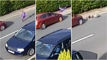Footage shows the shocking moment a child is mowed down as he steps in front of a passing car in Swansea, Wales.