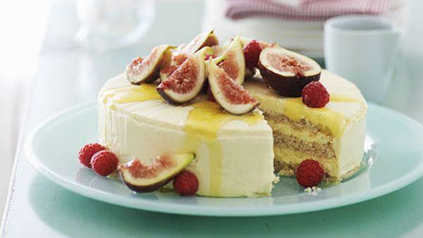 Iced honey mascarpone and almond cake with fig salad
