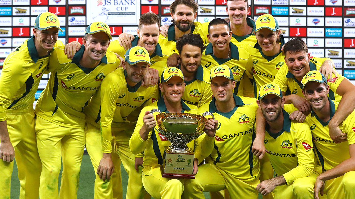 Australia celebrates a 5-0 clean sweep against Pakistan.