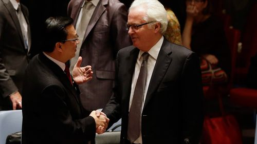 The Malaysian transport minister, Dato Sri Liow Tiong Lai, shakes hands with Vitaly Churkin, the Russian ambassador. (AAP)