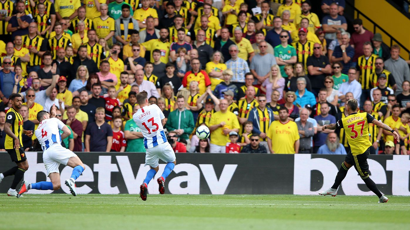 Watford's Roberto Pereyra scores his side's first goal