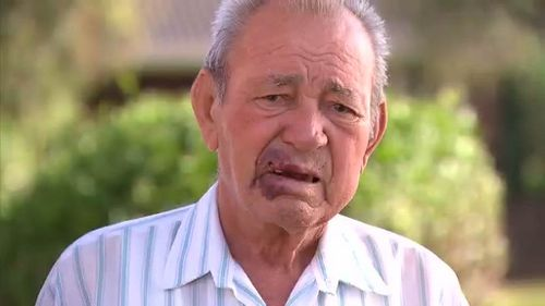 Frank Carlino, 86, says he is not angry with the people who allegedly bashed and robbed him of $570 in Sydney's southwest. (9NEWS)