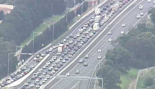Bumper-to-bumper traffic on Melbourne arteries.
