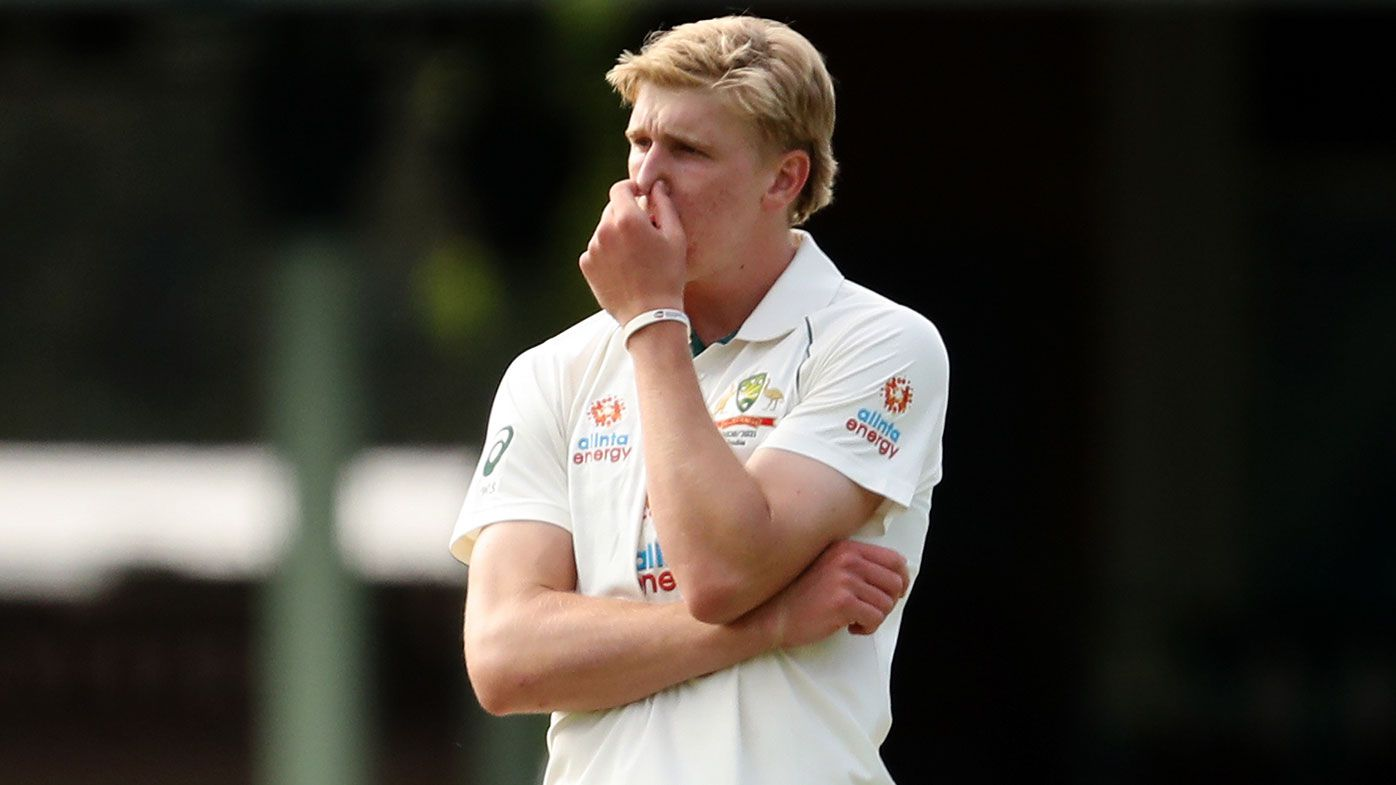 Will Sutherland of Australia A reacts during day two of the Tour Match between Australia A and India at Sydney Cricket Ground on December 12, 2020 in Sydney, Australia