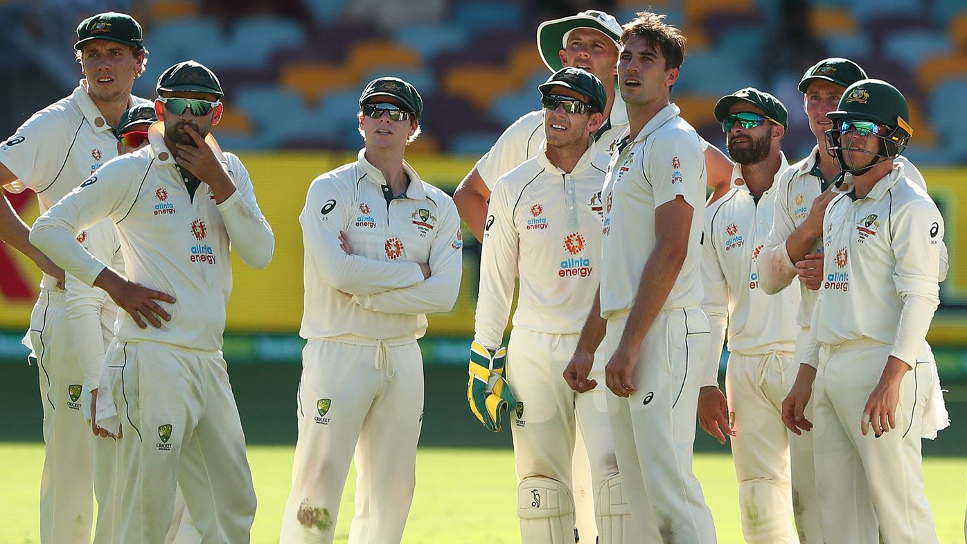 The Australian Test side look on in their loss to India. (Getty)