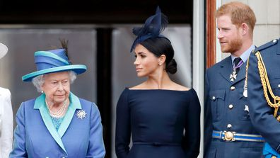 Queen Elizabeth with Harry and Meghan Trooping the Colour.