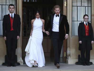 Prince Harry and Meghan Markle on their way to their wedding reception.