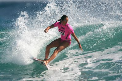 Layne Beachley competes in round one of the Roxy Pro, the first event on the ASP World Championship Tour on March 1, 2005.
