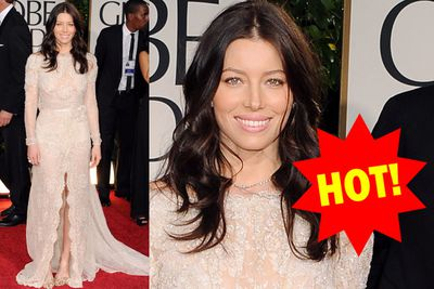 Jess's new dark locks look stunning against this sparkly, nude number. We're loving the soft pink lips, too.