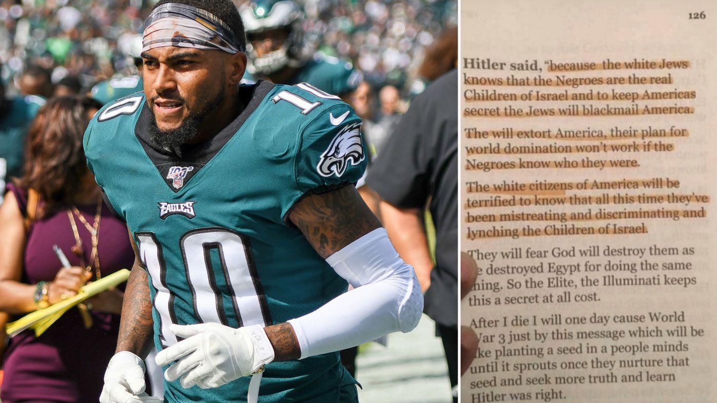 Philadelphia Eagles wide receiver DeSean Jackson and, insert, his anti-Semitic social media post shared