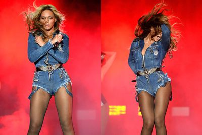 The Canadian tuxedo is a fashion risk, but Bey nails it.