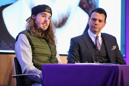 Cameron Underwood with Doctor Eduardo D. Rodriguez at the 2018 NYU Langone Face Transplant Announcement in New York yesterday.