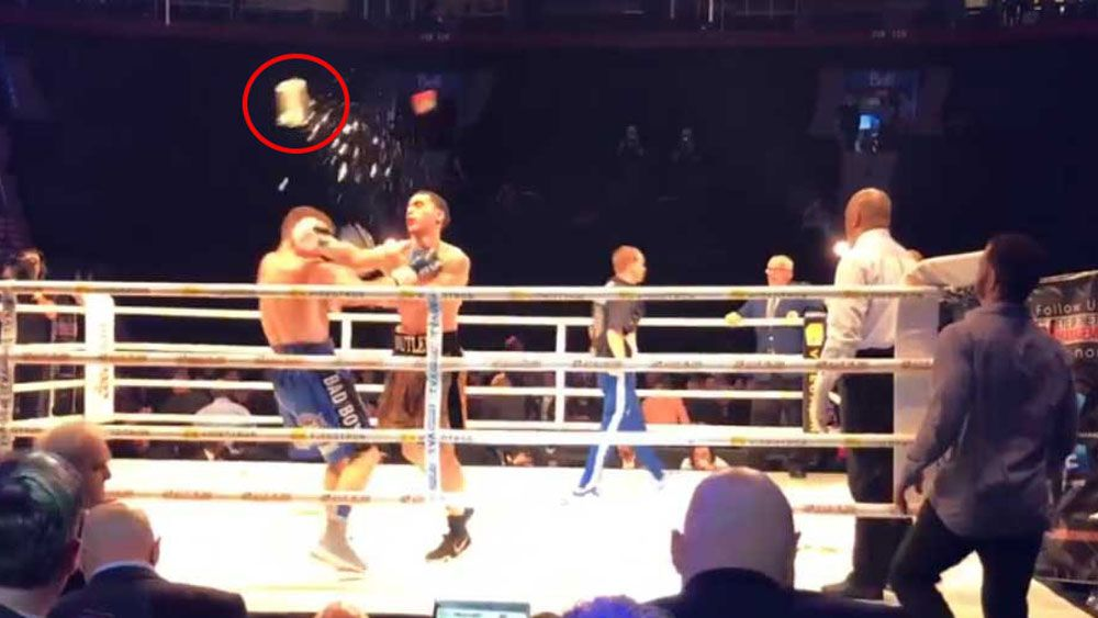 Boxer smashed in head by ice bucket in wild melee