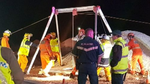 It took two hours to get the man out of the mine shaft. Picture: 9NEWS