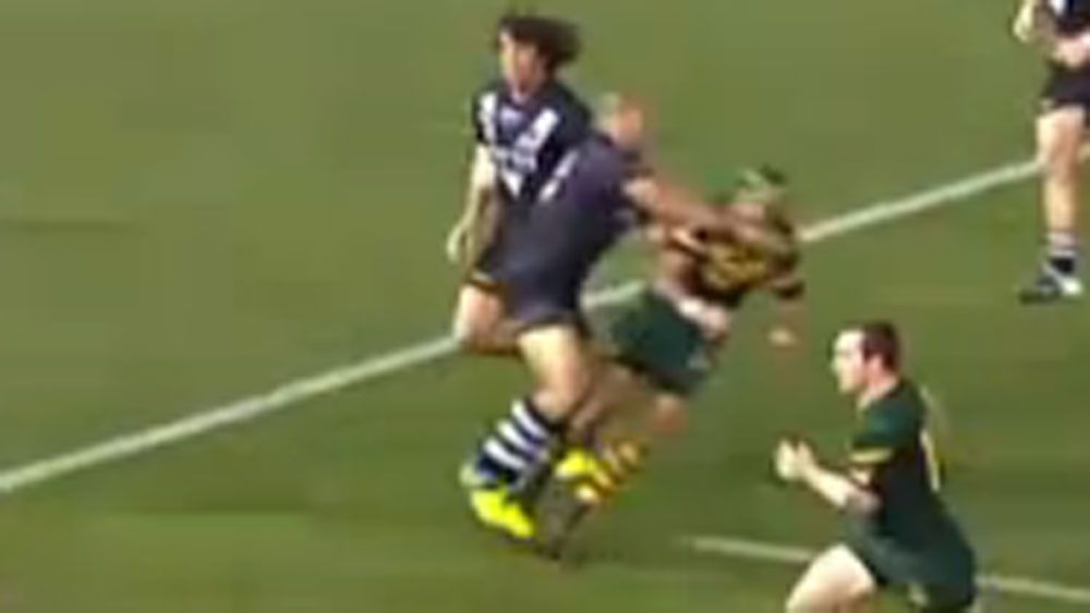 Sam Moa hits Jonathan Thurston with a late hit. (Supplied)