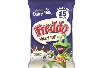 Freddo Frog with milky top: A little under 2 teaspoons of sugar