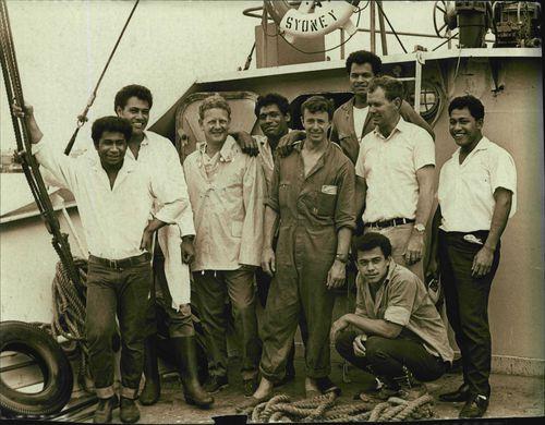Peter Warner with his crew (L-R) David, John, Peter Warner, Luke, Bill, Stephen, Jim Kolo and Mano. January 6, 1968.