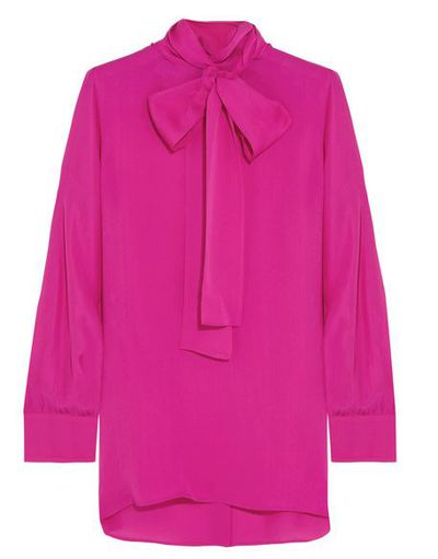 """Gucci pussy-bow blouse in silk, $1065 at <a href=""""https://www.net-a-porter.com/au/en/product/714636/Gucci/pussy-bow-silk-crepe-de-chine-shirt"""" target=""""_blank"""">Netaporter.com<br /> </a>"""