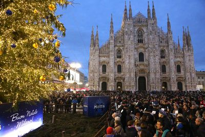 A Christmas tree lighting ceremony in Milan, Italy. (Vincenzo Lombardo/Getty)