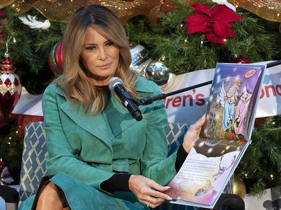 First lady Melania Trump reads to patients at Children's National Hospital.
