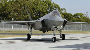 The first of two F-35A Joint Strike Fighters arrive at Williamtown RAAF base.The Minister for Defence, the Hon Christopher Pyne MP officially welcomed Australia's first two F-35A Joint Strike Fighter aircraft to the RAAF Base Williamtown.