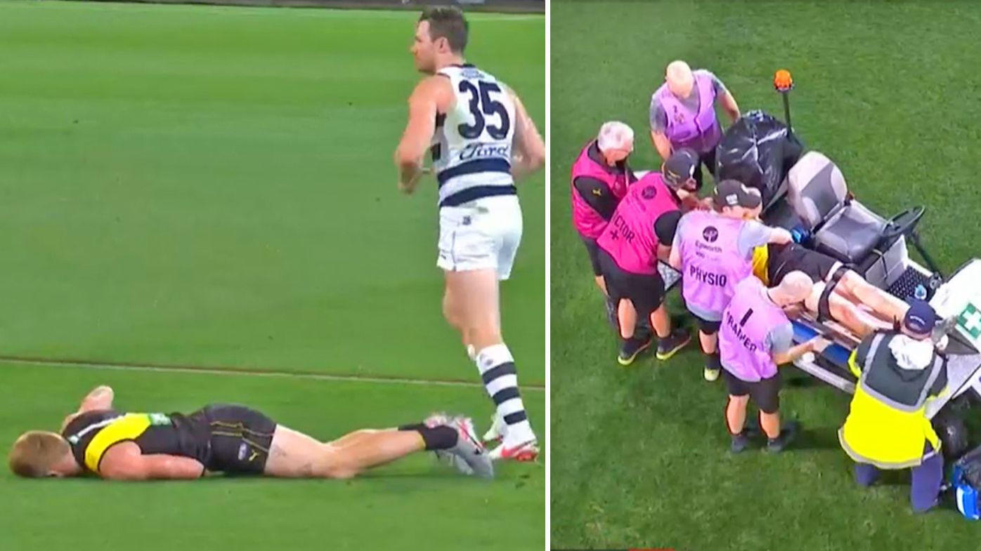 Richmond star Nick Vlastuin stretchered off after ugly Patrick Dangerfield elbow