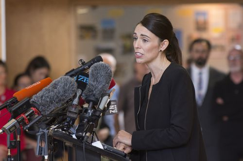 New Zealand Prime Minister Jacinda Ardern speaks to students at the Cashmere High School in Christchurch after fellow classmates were killed. (AAP Image/SNPA, David Alexander)