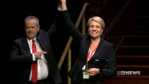 Mr Shorten and deputy Tanya Plibersek made a raft of election promises at the conference. Picture: 9NEWS