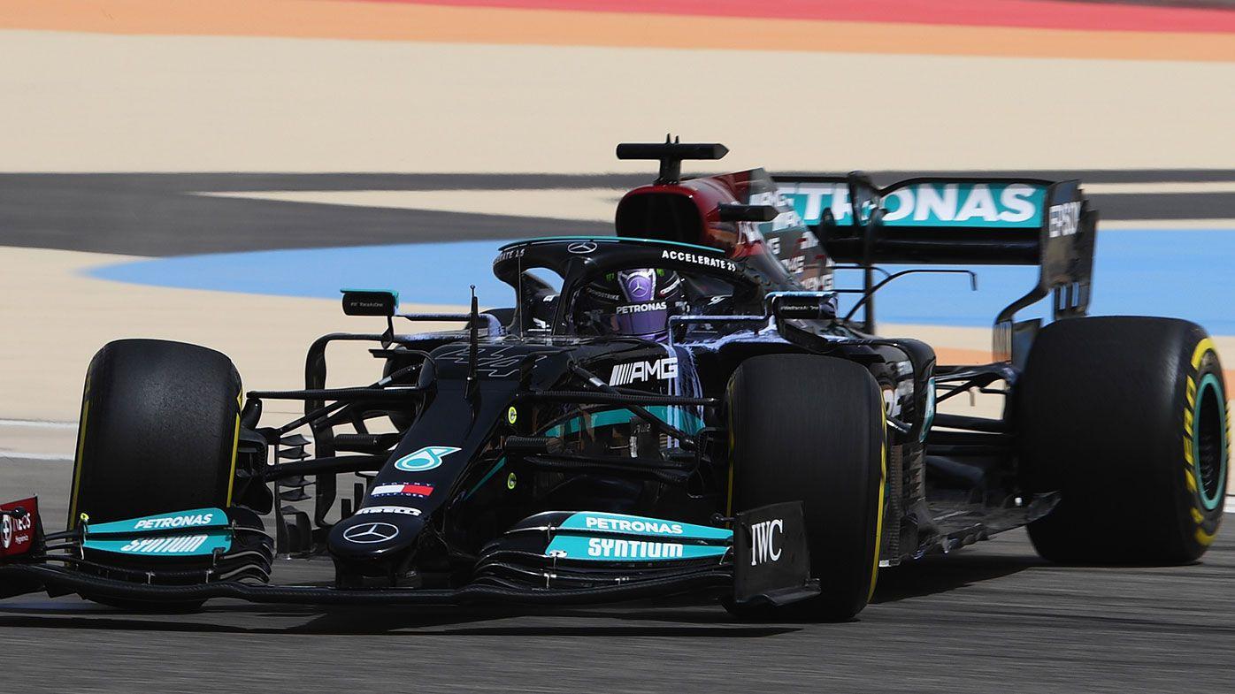 Lewis Hamilton spins during pre-season testing in Bahrain.