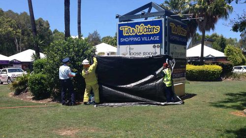 Fire crews hosed down staff who were sprayed with an unknown chemical. (Corrine May/WIN Sunshine Coast)