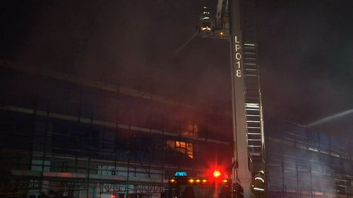 Fire engulfs construction site in Belmore in Sydney's south-west