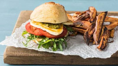 """<a href=""""http://kitchen.nine.com.au/2017/03/23/09/10/pesto-haloumi-burgers-with-rosemary-sweet-potato-chips"""" target=""""_top"""">Pesto haloumi burgers with rosemary sweet potato chips</a><br /> <br /> <a href=""""http://kitchen.nine.com.au/2017/02/02/15/01/fork-free-dinner-recipes-the-kids-will-approve-of"""" target=""""_top"""">More fork-free dinners</a>"""
