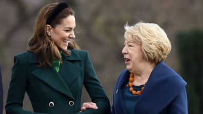 Catherine, Duchess of Cambridge walking with Ireland's First Lady Sabina Coyne at Aras an Uachtarain, Dublin, Ireland.