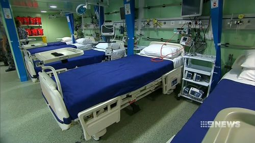The ship includes a 50-bed hospital. Picture: 9NEWS