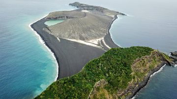 This island formed four years ago in the Southern Pacific Ocean. Picture: The Woods Hole Oceanographic Institution