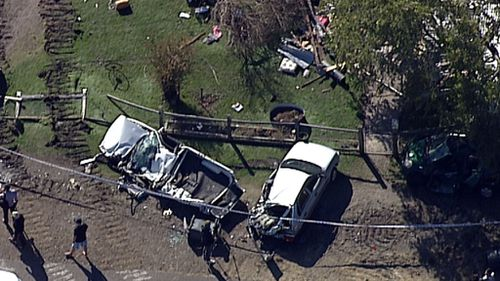 The wild rampage crushed the home as well as a boat and four cars. (9NEWS)