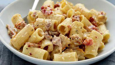 "Recipe:&nbsp;<a href=""http://kitchen.nine.com.au/2016/05/18/00/58/tomato-chilli-and-cream-pasta-sauce"" target=""_top"">Tomato, chilli and cream pasta sauce</a>"