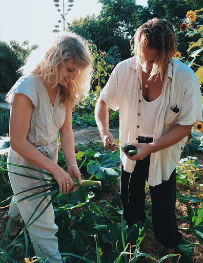The Studd Siblings pick produce in a Bryan farm