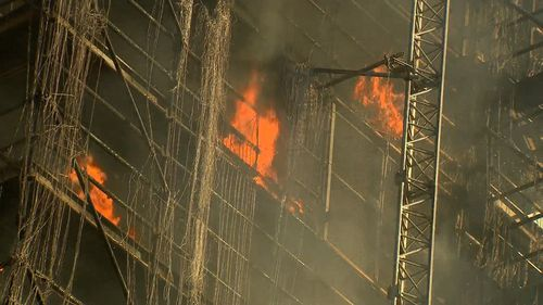 The fire has erupted at a tower block in Sydney's CBD. Picture: 9NEWS