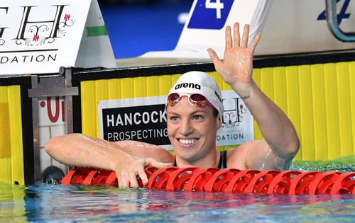 Emily Seebohm celebrates after winning the final of the women's 50m backstroke at the Gold Coast Aquatic Centre in March. Picture: AAP