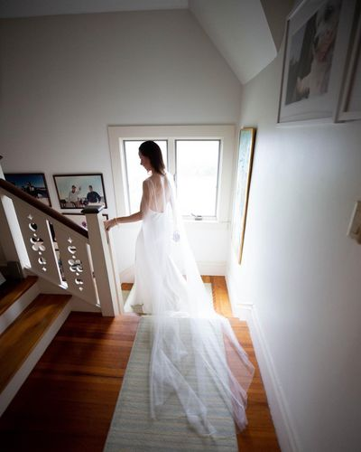 Barbara descends the stairs on her way to marry soon-to-be-husband Craig Coyne in a ceremony held at the Bush family residence inKennebunkport, Maine.