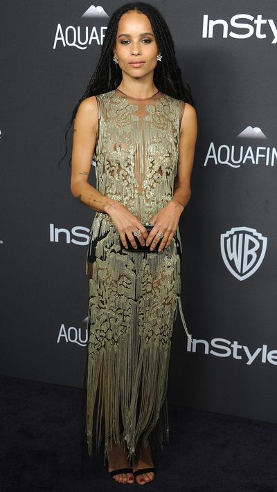 Kravitz in Alexander McQueen and Chopard jewels at the InStyle & Warner Bros. Golden Globes 2016 After Party.