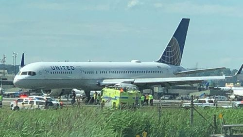 United Airlines flight skids off runway in New Jersey