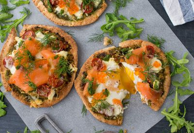 Whisky-cured salmon breakfast pizza