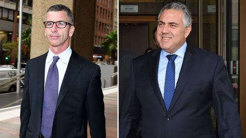 Sydney Morning Herald editor in chief Darren Goodsir (left) after giving evidence at the hearing and Mr Hockey. (AAP)