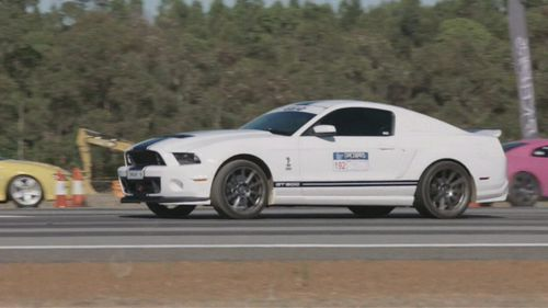 The Ford Mustang in the moments before the crash.