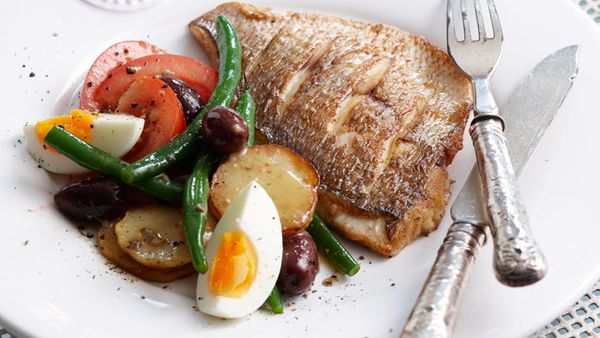 Grilled snapper nicoise
