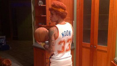 Justin Bieber as Will Ferrell's character Jackie Moon from the film Semi-Pro. (Instagram: @JustinBieber)